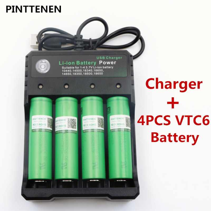 4PCS VTC6 3.7V 3000 mAh Lithium Ion Battery 18650 for Sony US18650VTC6 30A Flashlight Toy Tools for e-cigarette+1PCS UCB Charger