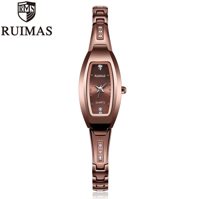 Ruimas Rhinestone Watches Women Luxury Brand Tungsten Steel Bracelet Watches Ladies Quartz Dress Watches Reloj Mujer ClockRuimas Rhinestone Watches Women Luxury Brand Tungsten Steel Bracelet Watches Ladies Quartz Dress Watches Reloj Mujer Clock