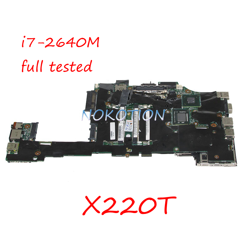NOKOTION 04Y1814 laptop motherboard For lenovo Thinkpad X220T i7-2640M Main board DDR3 Onboard cpu full tested