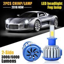 2X Светодиодные Фары Автомобиля 60 Вт 6000lm Автомобилей Светодиодные Лампы H3 Автомобилей Фары Противотуманные фары