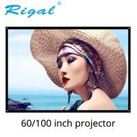 Rigal 60 100 дюймов 16:9 Портативный экран для проектора пластиковый экран матовый белый для домашнего кинотеатра поездки встречи для светодиодны...