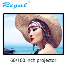 Rigal 60 100 дюймов 16:9 Портативный проектор Экран Пластик Экран матовый белый для дома Театр поездки встречи для светодио дный DLP проектор