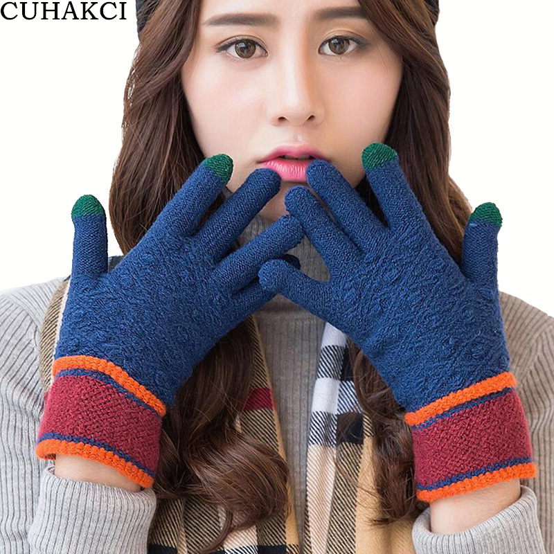 CUHAKCI Brand New Arrival Winter Gloves Touched Screen Men Gloves Women Outdoor Casual Knitted Mittens Warmer Top Acrylic Glove