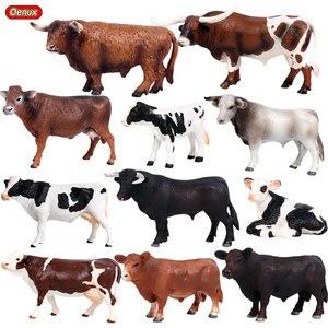 Image 1 - Oenux Animali da Fattoria Mucca Simulazione Bovino Vitello Bull OX Action Figures Modello Selvaggio Buffalo Figurine PVC Giocattolo Educativo Per Il Capretto regalo