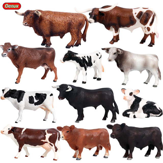 Oenux Farm Animals Cow Simulation Cattle Calf Bull OX Model Action Figures Wild Buffalo Figurines PVC Education Toy For Kid Gift