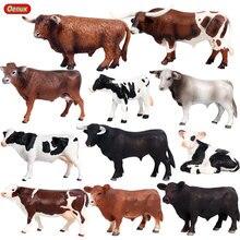 Oenux 농장 동물 암소 시뮬레이션 가축 송아지 황소 OX 모델 액션 피규어 야생 버팔로 인형 PVC 교육 장난감 아이 선물