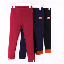 Funfeliz Winter Girl Trousers Kids Pants Velvet Thickening Leggings Girls Fleece Skinny Pant for Girls Warm Children Pants 3-12Y