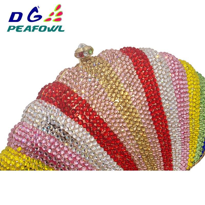 Élégant coquille arc-en-ciel cristal complet diamant Woemn sacs de soirée dames jour embrayages strass embrayage Banquet pochette - 4