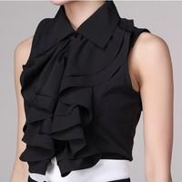 new summer elegant lady OL temperament ruffled neck sleeveless black and white blouses chiffon shirts