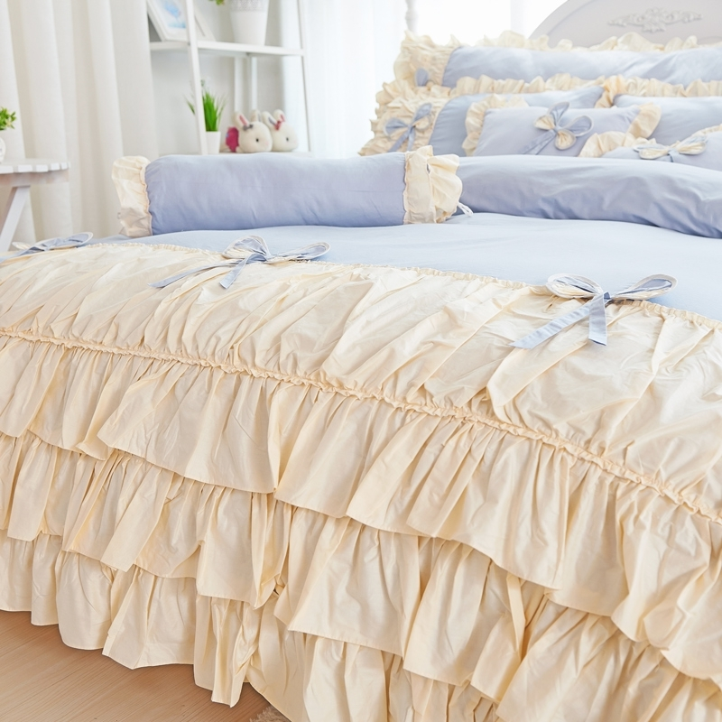 Blue Pink Yellow Purple Korean Princess 100 Cotton Bedding Set White Ruffle Twin Queen King Duvet Cover Bed Skirt Pillowcases in Bedding Sets from Home Garden