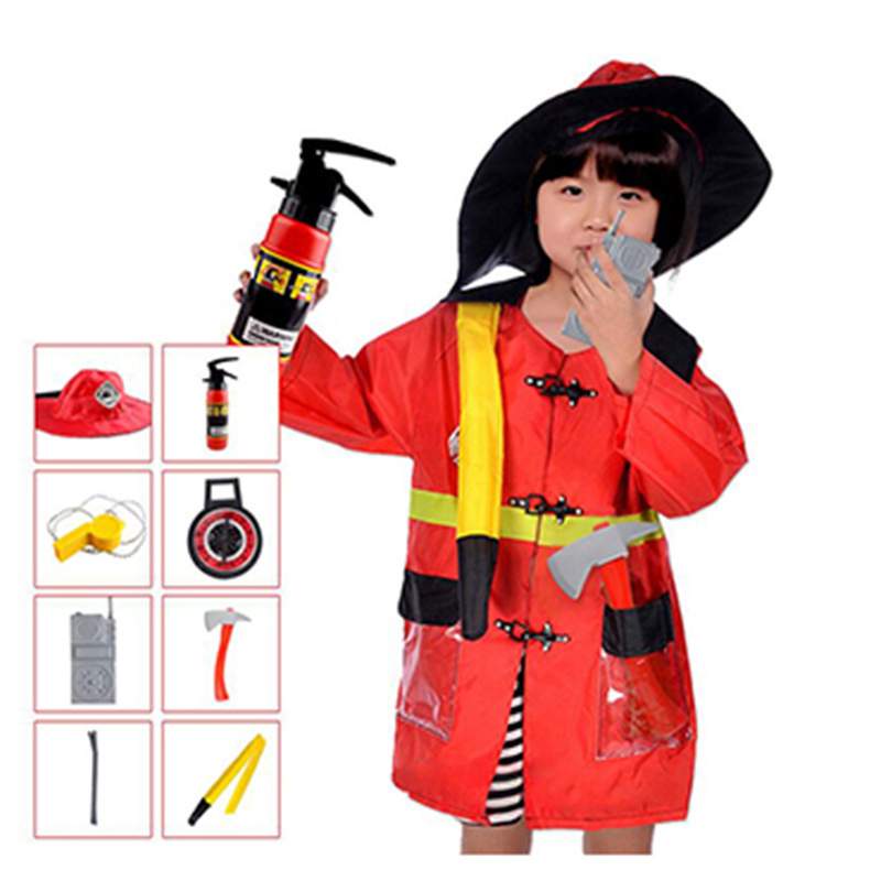 Children Firefighter Policemen Engineer Cosplay Costumes with Toys Halloween Fancy Clothing for Kids Boys Girls Jacket