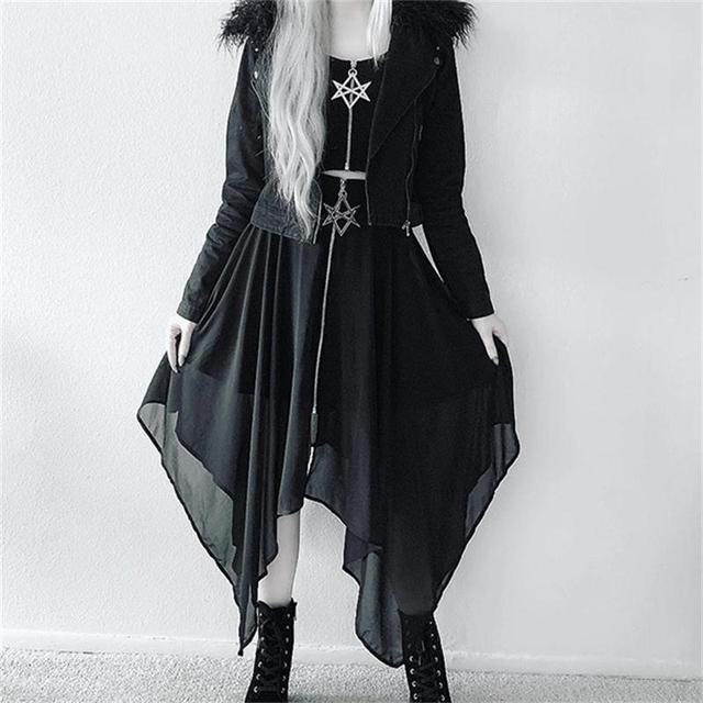 Summer Mesh Irregular Women Skirts Pentagram Zipper Black Punk Skirts Gothic Darkness Lady Skirt Casual Loose Streetwear Skirts 4