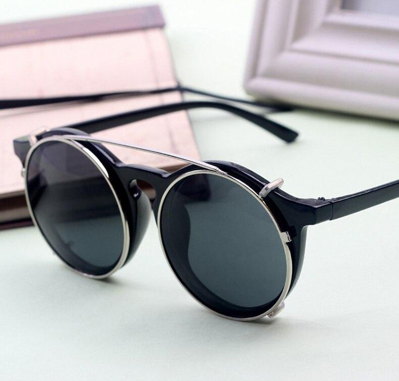JackJad 2018 Men s New Fashion Vintage Round SteamPunk Style Sunglasses  Double Layer Clamshell Design Sun Glasses Oculos De Sol-in Sunglasses from  Apparel ... ba36550e54