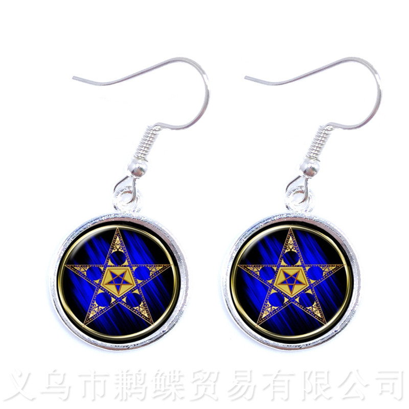 Pentacle Earrings Tree of Life Pattern Picture Glass Cabochon Jewelry Drop Earring For Women Gril Children Gift
