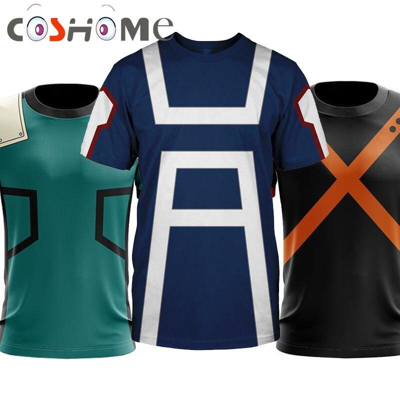Coshome Anime Boku No My Hero Academia Cosplay T-shirts Bakugou Izuku Midoriya Costumes Men Women Summer Tees Tops