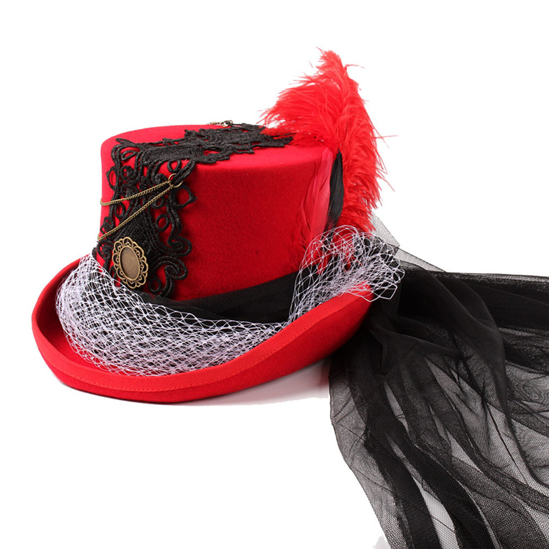 b0d813e0f3 Steampunk Allure Red Wool Women Steam punk Fedora Top Hat For Lady ...