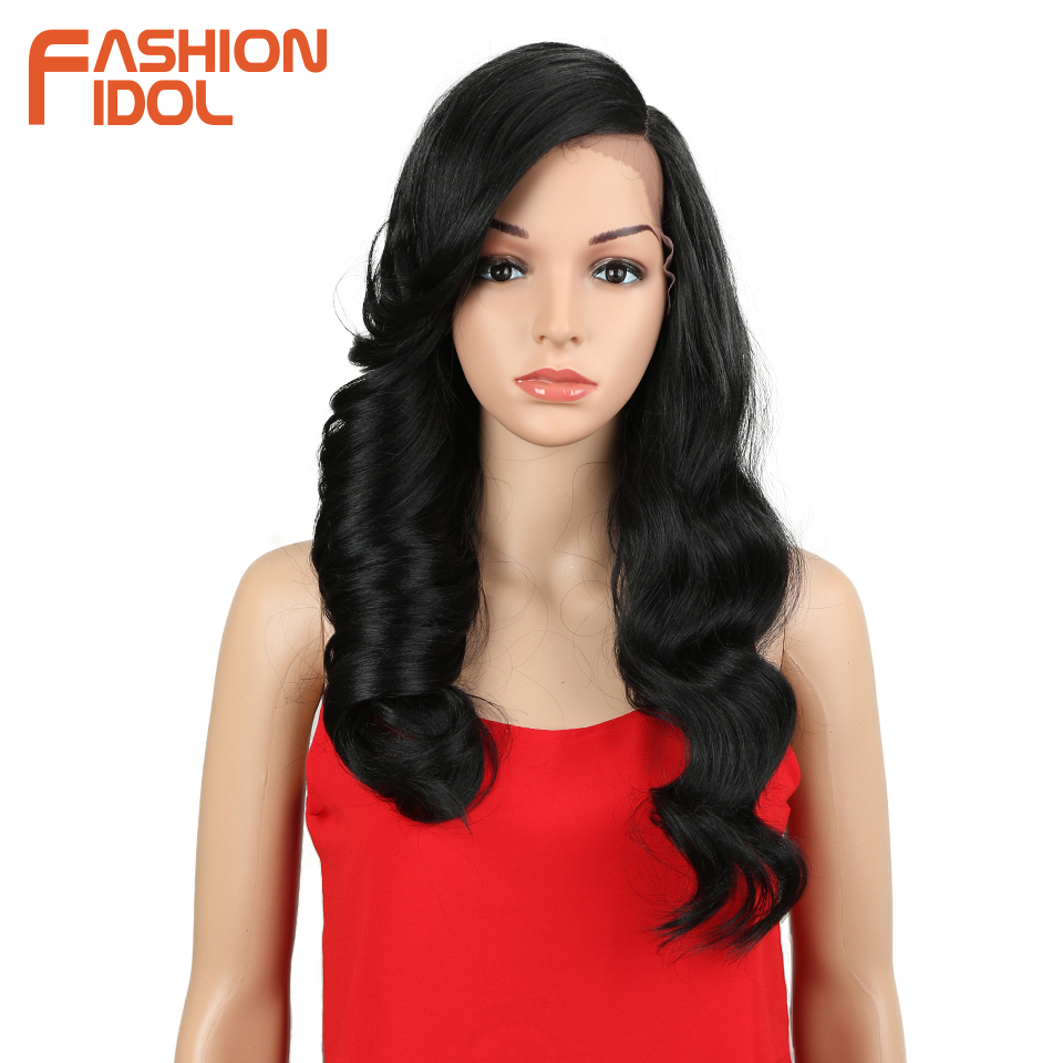 FASHION IDOL Long Hair Synthetic Lace Front Wig Loose Deep Wavy 24Inch Ombre 130% Heat Resistant Synthetic Wigs For Black Women