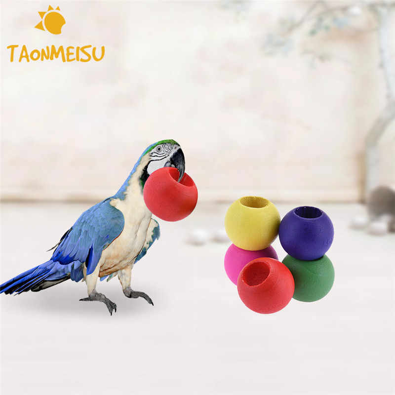 10pcs/bag DIY Accessories Colorful Wood Beads Toy Pet Bird Parrot  Toy Random  Color