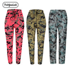 Pickyourlook Camouflage Women Trousers Pant Military Army Printed Camo Lady Pants Fashion Pencil Straight Cargo Female Trousers women camo cargo trousers casual pants military army combat camouflage new