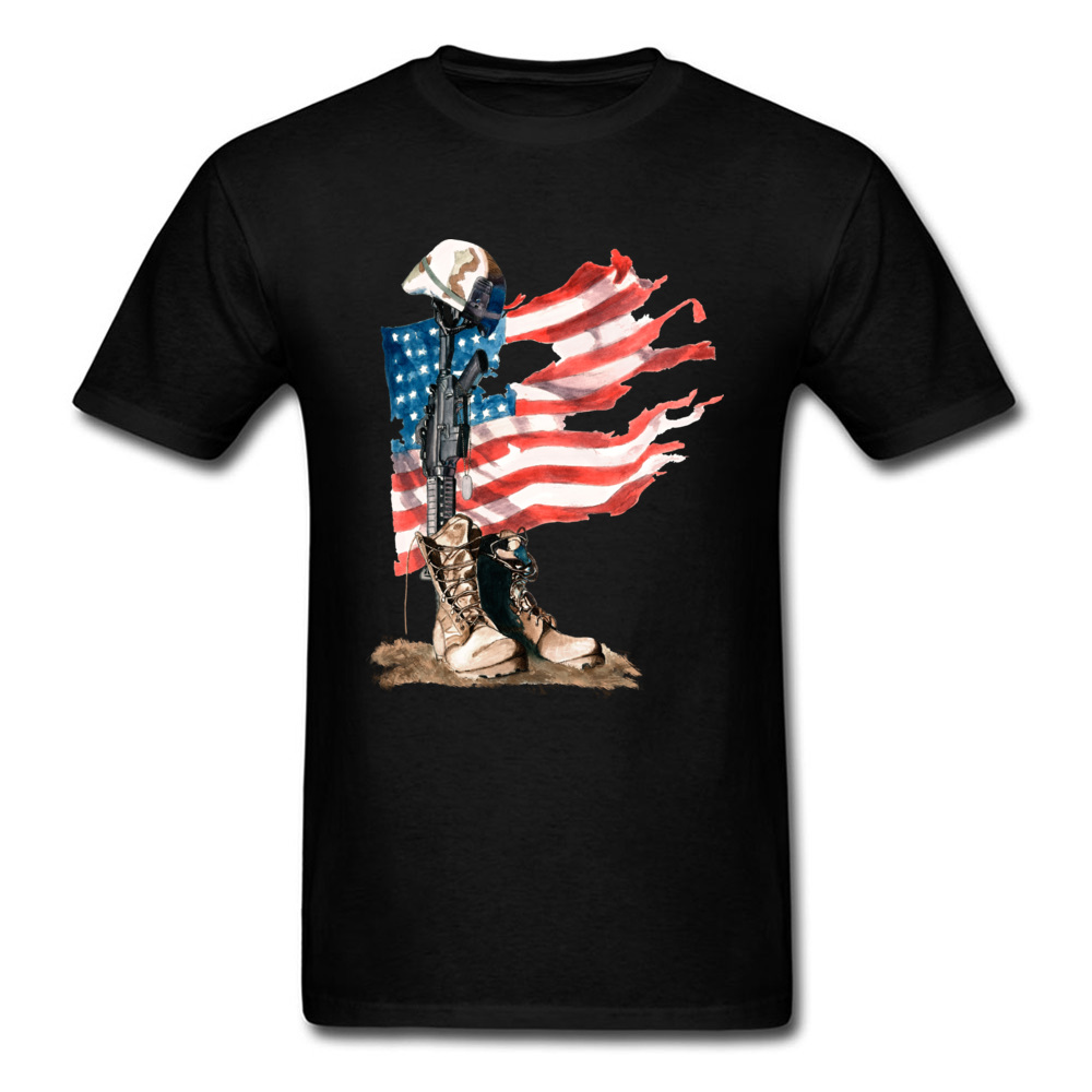 2018 Men T-shirt US Flag Warrior Black Tops Cotton Plus Size Male Short Sleeve T Shirts Group Tees Vintage Style