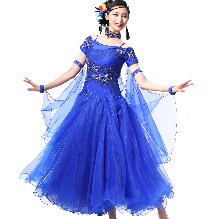 Luxury Modern Costumes  Ballroom Dance Dress Dew Shoulder Tango Costume Short Sleeve 10 Color Waltz Modern Dress