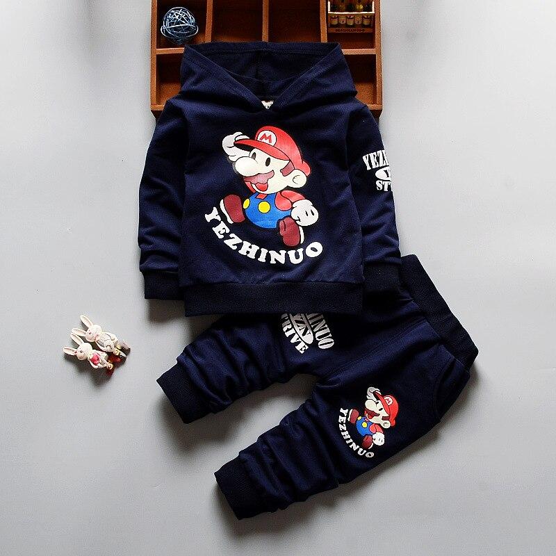 Для маленьких мальчиков одежда 2018 мультфильм Длинные рукава Толстовки с капюшоном + брюки комплект из 2 предметов Одежда для младенцев дете... ...