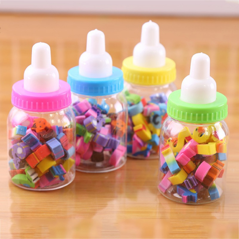 Mini Kawaii Bottle Rubber Pencil Erasers Toy Office Stationery Fruit Number Shaped Eraser Toys Kids Creative Item Gifts
