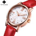 Luxury Brand Women Watches Red Genuine Leather Rose Gold Diamond Ladies Casual Quartz Watch Women Dress Watch Clock Montre Femme