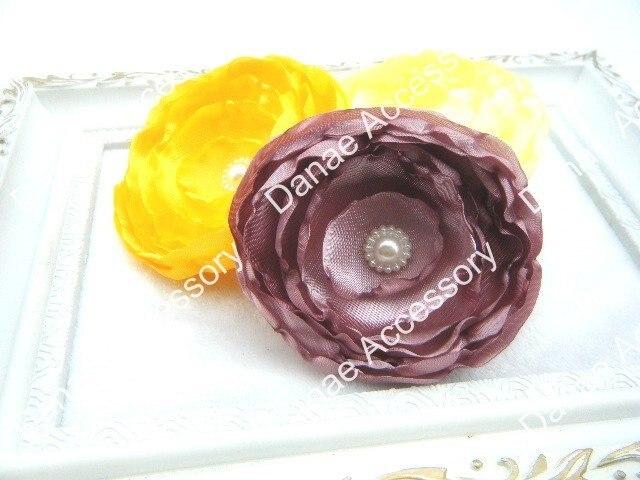 3 ''Романтический атласный тканевый цветок для волос, многослойный цветок девушка/невесты/подружки невесты/цветок волос, 22 цвета