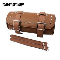 Brown Leather Motorcycle Front Forks Bags Sissy Bar Tool Pouch Bags Scooter Handlebar Luggage Bag For