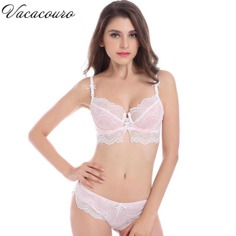 Women s sexy bra set lace underwear adjustable thin cup lingerie set sujetador transparente woman underwear