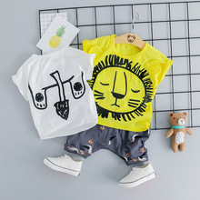 baby boys 2pcs clothes  kids summer clothing tshirt pant girl suit set infant dinosaur embroidery