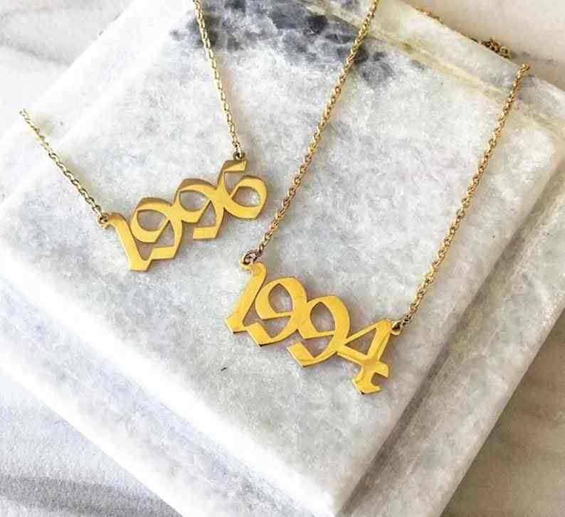 Personalized Number Necklace 2008 2009 2010 2011 2012 2013 2014 2015 2016 2017 2018 2019 Letter Necklaces Women Friend Gifts BFF