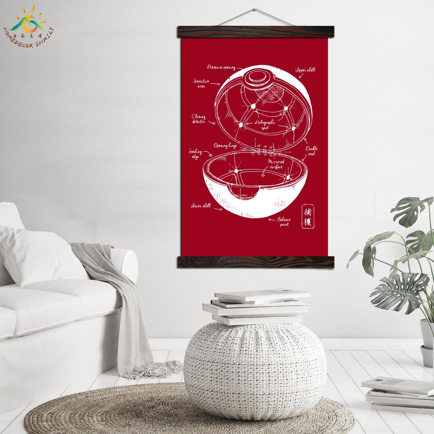 Red Pokemon Pokebal Blueprint Vintage Posters and Prints Scroll Painting Canvas Art Wall Pictures Frame Painting Home Decoration 2