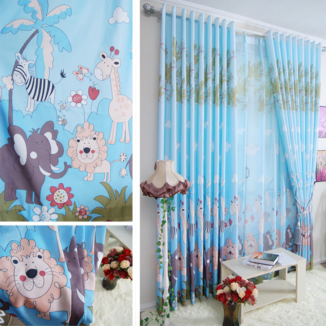 Ya hee lai tai cartoon boy bedroom curtains finished for Cheap childrens curtain fabric