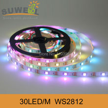 non waterproof individually addressable 5v 30 led/m digital 5050 rgb ws2811 ws2812 ws2812b led strip white pcb 5m free shipping