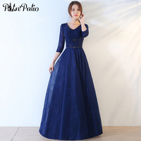 PotN Patio Navy Blue Lace Evening Dresses Long 2017 Elegant V Neck Backless Beading Mother Of