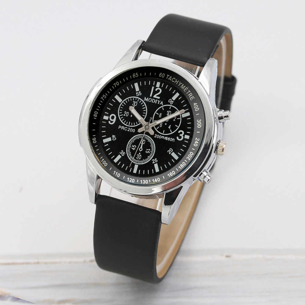 Reloj de cuarzo de tres ojos de moda 2019 Reloj con correa de cristal azul para hombre, negro, marrón, gota, Reloj de hombre envío gratis wd3