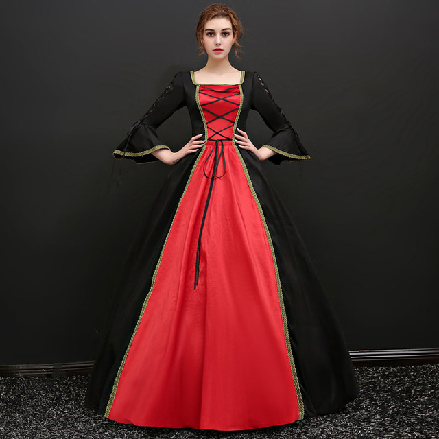 2018 Black and Red Square Collar Long Flare Sleeve Backless Gothic Victorian Long Party Dress 18th Century Masquerade Dresses