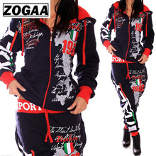ZOGAA 2018 Brand New Women Two Piece Set Tracksuit Outfits for Womens Hooded Sweatshirt Sweat Suits Printed Sportswear Suit
