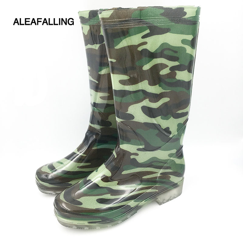 Aleafalling Spring/Winter women Camouflage female Knee-High Waterproof Rain Boots ladies Slip-Resistant Rubber soles shoes w113 hxrzyz spring and autumn hot new fashion women rain boots ladies slip resistant cute cartoon shoes women waterproof rubber boots