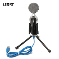 LEORY Professional USB Karaoke Desktop Condenser Microphones Mic With Shock Mount For PC Sound Studio Recording