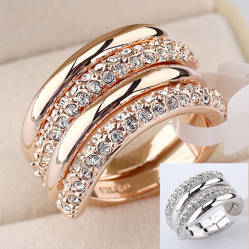 Italina Cz Diamond 2 In 1 Wedding Rings For 18k Platinum Plated Swa Crystal Double Spiral Engagement Women From Jewelry Accessories On