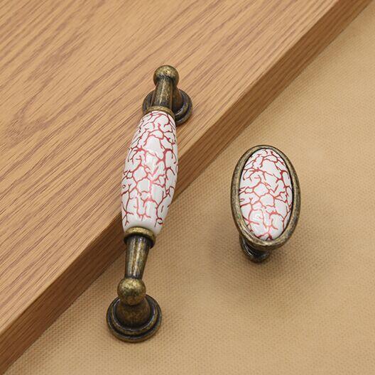 Red crack ceramic dresser Knob bronze kichen cabinet pull antique antique brass drawer cupboard  furniture handle pull knob inpower pro 11 5 crack unlimited installation