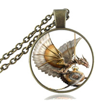 Steampunk Dragon Necklace Cabochon Glass Photo Pendant Vintage Jewelry for Women Men Girls Boys Sweater Accessory HZ1