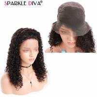Sparkle Diva Kinky Curly Human Hair Full Lace Wig 100% Malaysian Human Hair Pre Plunk With Baby Hair No Split Cuticle Aligned