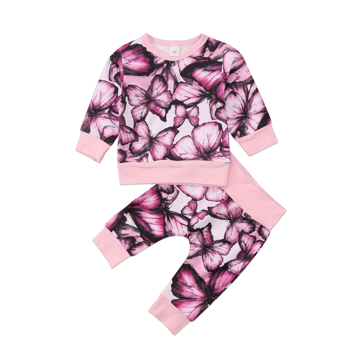 Fashion kid baby girls clothes 2pcs set Newborn infant Baby Girls Butterfly print Outfits Tops T Shirt+Pants Cotton Clothes Set