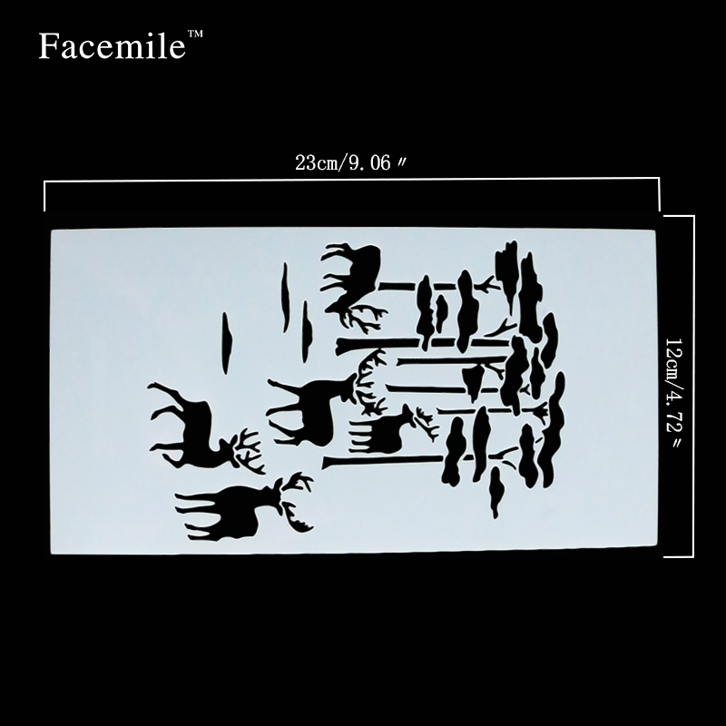 Facemile Christmas Cookies Stencil Deer Fondant Cake Decorating Tool Cake Stencil Coffee Stencils Cake Tool 54047