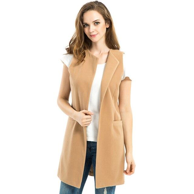 2016 New Women Spring Wool Blend Vest Waistcoat Ladies Winter Long Camel Vest Sleeveless Jacket Coat Plus Size Veste Femme Gilet