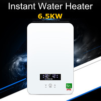 6500W 220V Electric Tankless Instant Water Heater Temperature Bathroom Self checking Automatically Safety White Thermostat LCD